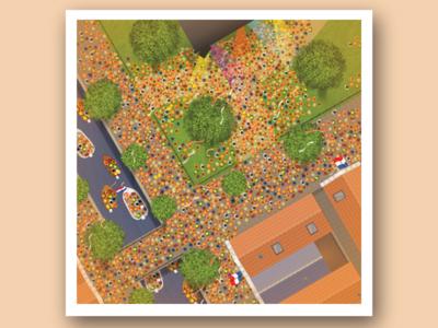 King's Day landscape party orange celebration koningsdag kings day aerial landscape dutch