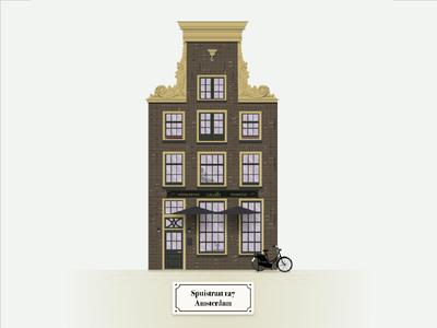 Recreation of 18th century Amsterdam building monument historic front building nederland netherlands amsterdam illustration