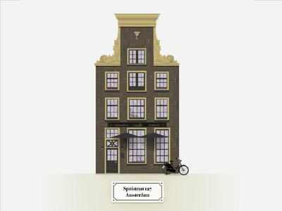 Recreation of 18th century Amsterdam building monument historic front building nederland netherlands amsterdam illustration