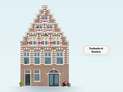 Illustration of 17th century house in Haarlem monument historic facade building nederland netherlands haarlem illustration