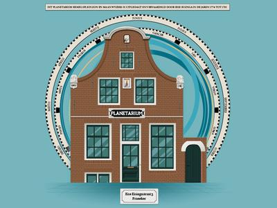 Illustration of the Eise Eisinga planetarium friesland historic astronomy planetarium facade netherlands monument building dutch illustration