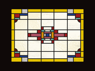 Stained glass  |  3 color block window stained stained glass glass illustration dutch