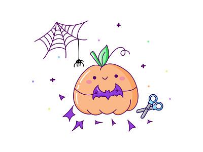 Cute Halloween Pumpkin spider web spider bat halloween trick or treat trick-or-treat pumpkin cartoon illustration kawaii adobe illustrator cartoon character cartoon vector illustration flat kawaii art cute illustration cuteart