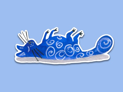 Blue Cat #4 blue watercolors tail sleeping cat watercolor art telegram sticker design sticker watercolor painting watercolor animal illustration cartoon illustration cartoon character cartoon cute illustration cuteart