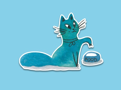 Blue Cat #5 blue watercolour watercolor hand drawn simple sketch sticker pack sticker design sticker telegram illustration cat animal illustration cartoon cartoon character cuteart cute illustration cartoon illustration