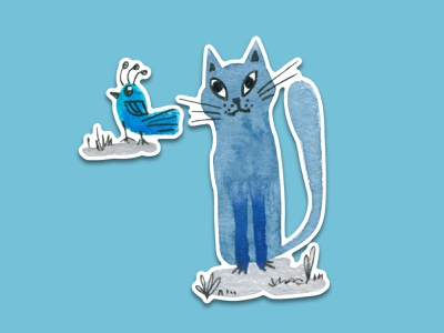 Blue Cat #8 cats puzzled thinking watercolor art watercolour watercolor blue bird cat telegram design sticker pack sticker illustration animal illustration cartoon illustration cartoon character cartoon cute illustration cuteart