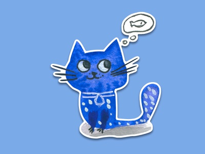 Blue Cat #9 kitty blue fishes sticker art stickerpack watercolour watercolor sticker illustration cat animal illustration cartoon illustration cartoon character cartoon cute illustration cuteart