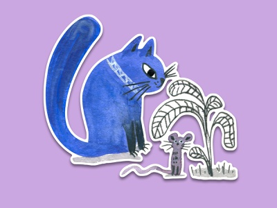 Blue Cat #10 watercolour painting sticker pack sticker design stickers hiding bush mouse watercolor art watercolour watercolor sticker illustration cat animal illustration cartoon illustration cartoon character cartoon cute illustration cuteart