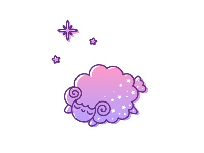 Joy to the World kawaii animal cute animal violet purple pink gradient color gradient stars sleeping sheep vector illustration kawaii kawaii art animal illustration illustration cartoon illustration cartoon character cartoon cute illustration cuteart