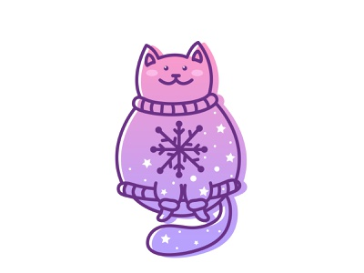 Cozy character design smiling smile lineart gradient snowflake stars cute cat cute animal adobe illustrator cc illustration cartoon character cartoon adobe illustrator cartoon illustration vector illustration animal illustration kawaii art cute illustration cuteart