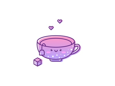 Xmas Drink smile hearts sugar cup snow stars pink purple gradient flat adobe illustrator kawaii vector illustration kawaii art illustration cartoon illustration cartoon character cartoon cute illustration cuteart