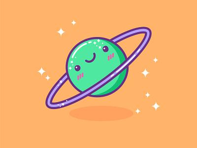 Kawaii Planet doodle adobe illustrator wacom tablet character design space planet kawaii illustration cartoon cartoon character cartoon illustration kawaii art cute illustration cuteart