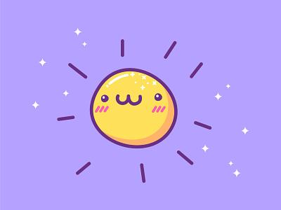 Kawaii Sun smiling sunshine summer light space sun illustration cartoon cartoon character cartoon illustration cute illustration cuteart kawaii art kawaii