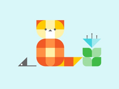 Geometric Kitty shapes simple geometrical geometry flat potted flower mouse kitty cat bauhaus kawaii art illustration cartoon cartoon character cartoon illustration cute illustration cuteart