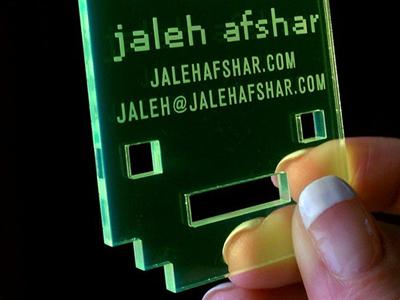 Pixel Bunny Business Card pixel art rabbit green transparent acrylic plastic business card laser cut etching