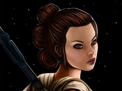 Rey painting digital art fan vii episode awakens force the wars star rey