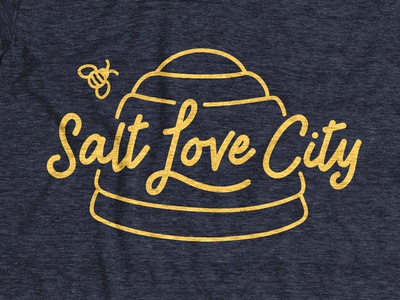 Salt Love CIty charity love state yellow script apparel tshirt honeybee bee beehive salt lake city