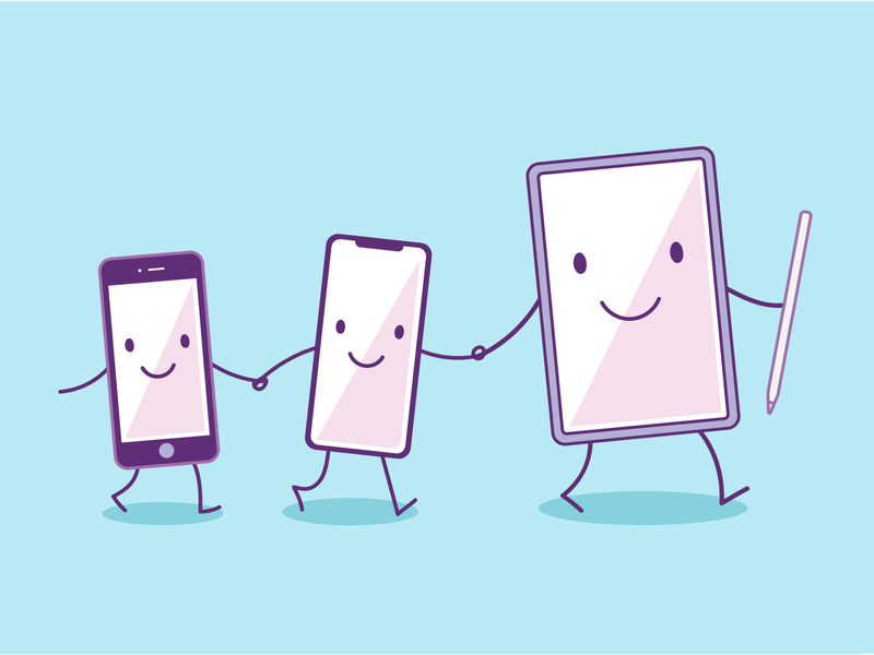 Facebook iOS Hack Week mascots mascots purple facebook app iphonex vector illustrator illustration facebook ios app ipad pro iphone devices apple apple pencil ipad ios