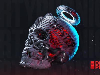Skull - Poster 356 color octane everyday poster design render skull texturing cinema4d 3d artist 3d art 3d
