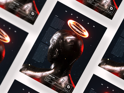 Gosmow - Poster series humanoid red typography type illustration render color gradient everyday octane design cinema4d 3d art 3d poster art poster
