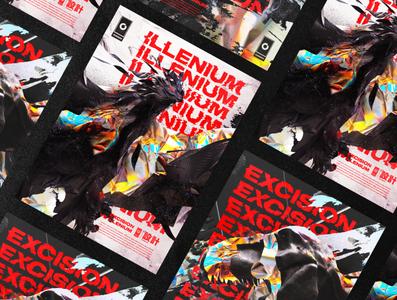 Gosmow - Excision VS Illenium layout type render typography poster cinema4d 3d design poster art 3d art octane