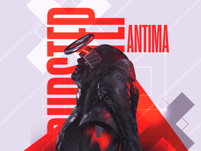 Gosmow - Antima layout type humanoid tech human dark gradient render everyday design illustration typography octane poster cinema4d 3d