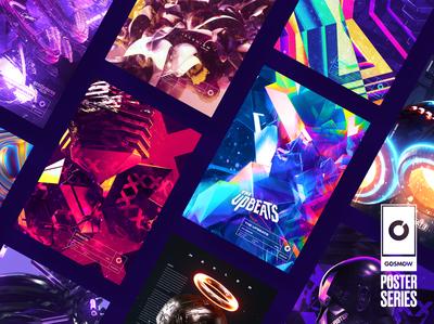 Gosmow - Poster series instagram daily artwork grid octane render everyday typography color gradient poster cinema4d 3d design
