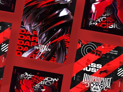 Gosmow - Poster series 3d art illustration render red color poster art poster cinema4d 3d design octane