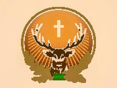 Jägermeister badge pixelated stag logo badge jägermeister jäger