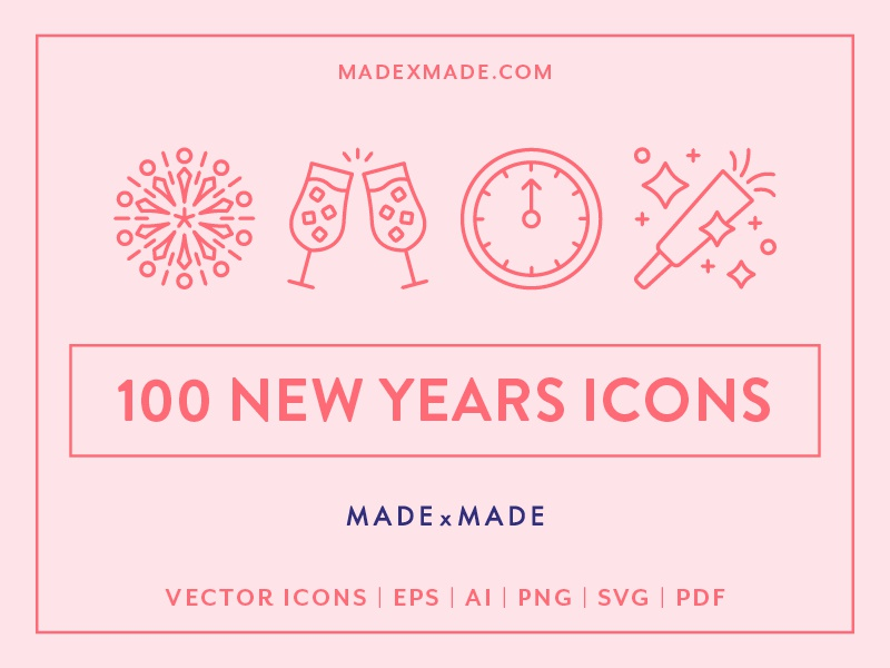 Made By Made | Line Icons – New Years Eve fireworks party celebration new years eve ux ui infographics symbols illustrations vector icons line icons