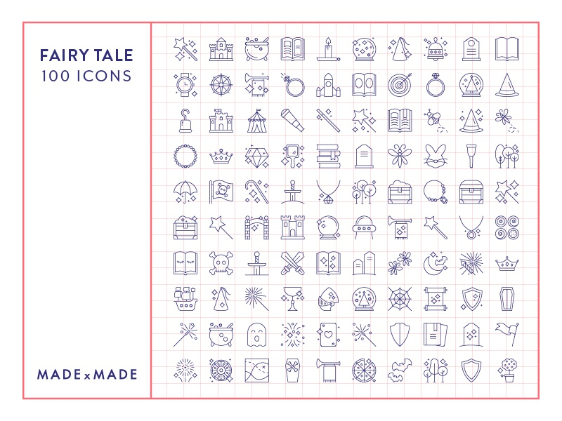 Made By Made   Line Icons – Fairy Tale fantasy magic children fairy tale ux ui infographics symbols illustrations vector icons line icons