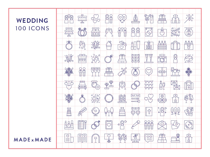 Made By Made | Line Icons – Wedding love party engagement wedding ux ui infographics symbols illustrations vector icons line icons