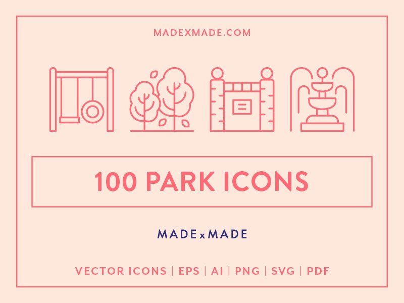 Made By Made | Line Icons – Park zoo playground trees holidays hiking camping nature outdoors park ux ui infographics symbols illustrations vector icons line icons