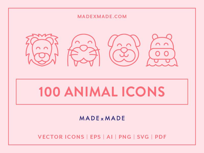 Made By Made   Line Icons – Animals zoo aquatic aquarium fish cat dog farm wildlife pets animals ux ui infographics symbols illustrations vector icons line icons