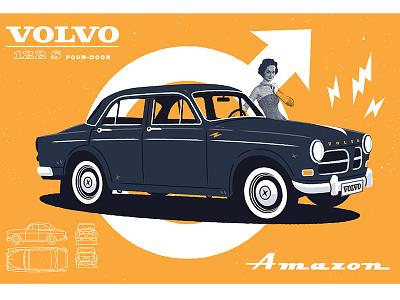 Volvo Amazon 122S half tone illustrator vector screen print retro vintage amazon volvo illustration