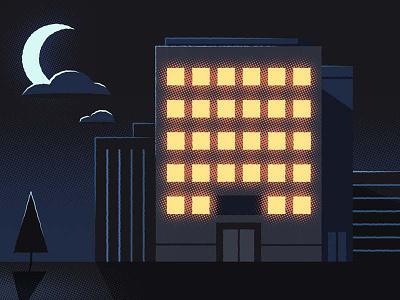Office building at night moon illustrator lights night vector illustration halftones