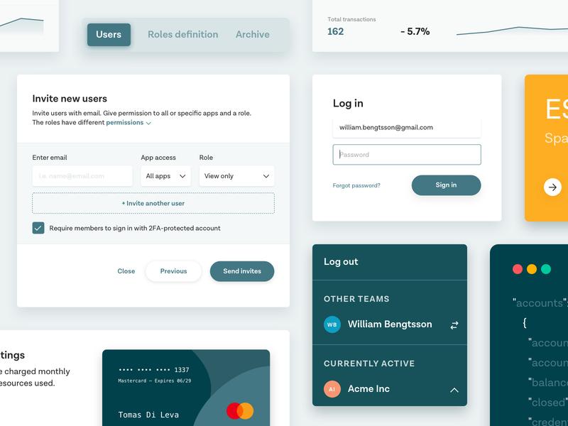 Team accounts dropdown green switch button form input fields input code statistics metrics tab tabs switch ui design payment settings team login form login card ui