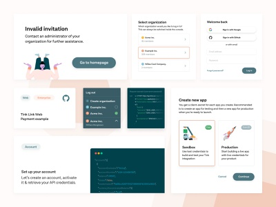Collection of UI minimalist white product page product design ux active teams switcher terminal code button link form selection input illustration icons cards ui