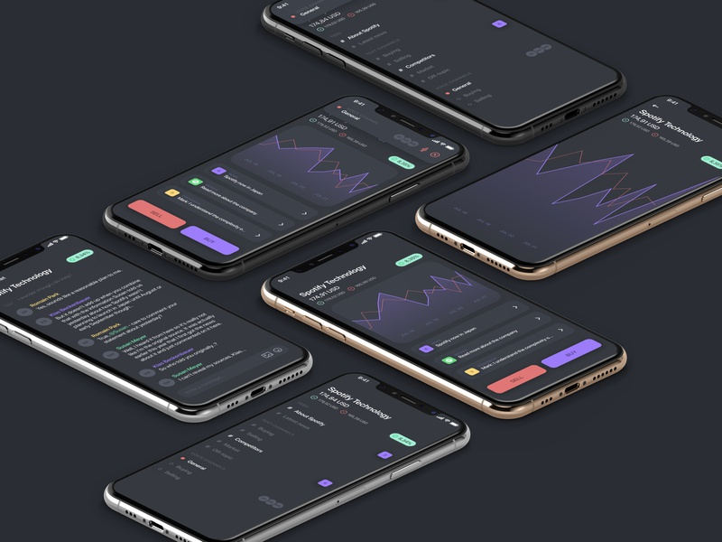 Social stock app icons ui app statistics messages chat cards tags buttons graphs graph dark dark mode dark ui product design iphone app ios iphone stock