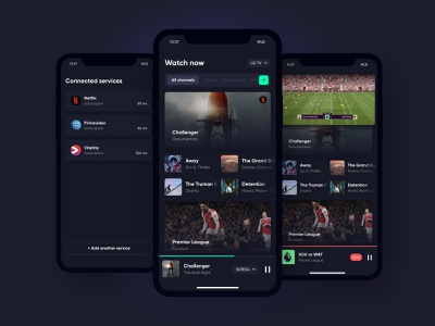 App remote tv remote sport movie live button video player play dropdown tag navigation tabs card list mobile ios app cards ui
