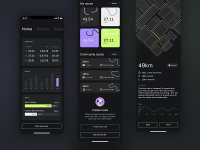 Bike app mobile table tabs list ios app cards bars statistics goals map neon dark mode ui app ios bike