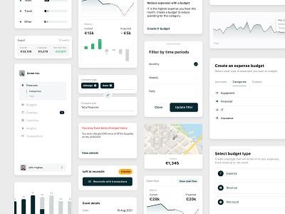 Business dashboard UI elements icons stats gradient light dashboard select modal map bar input tags button navigation nav list statistics graphs finance cards ui