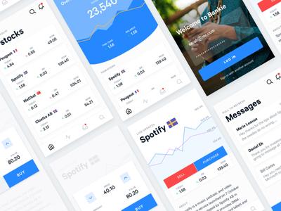 Stock app cards menu android ios bank ux ui app