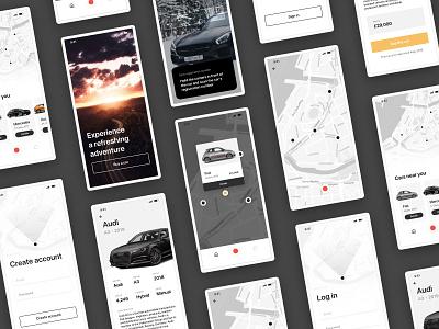 Car App cars car card input field map ux minimalistic menu header mobile ios app cards ui