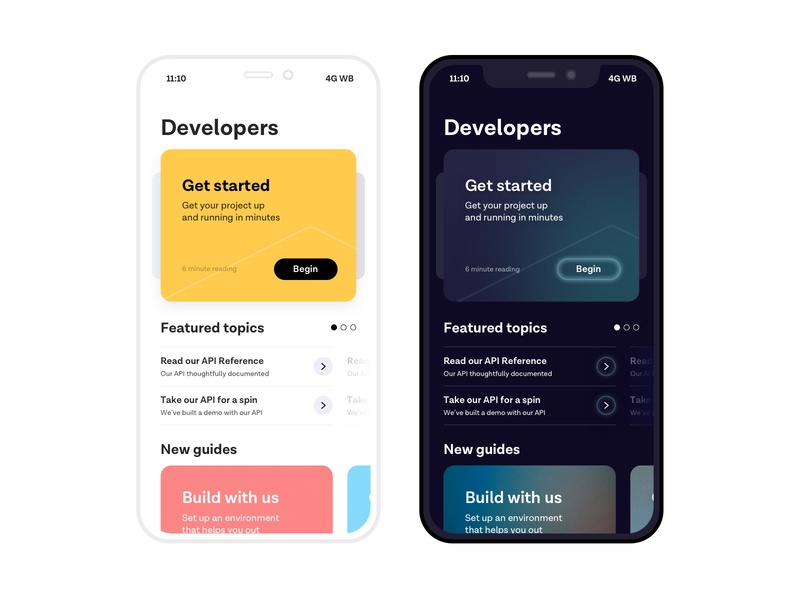 Normal and Techno themes landing page web minimalistic hero mobile ios landing app cards ui