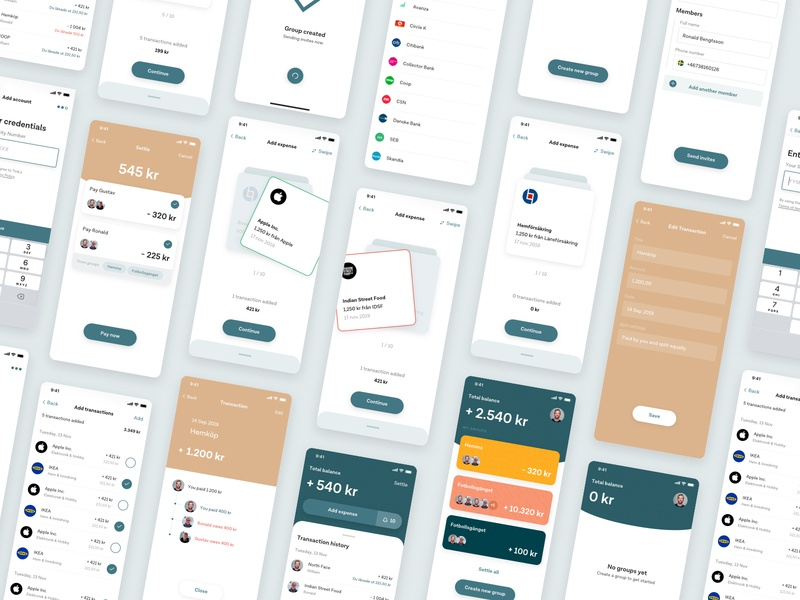 Shared finances transactions checkbox payment input label green settings list swipe ux  ui onboarding profile fintech ux minimalistic mobile ios app cards ui
