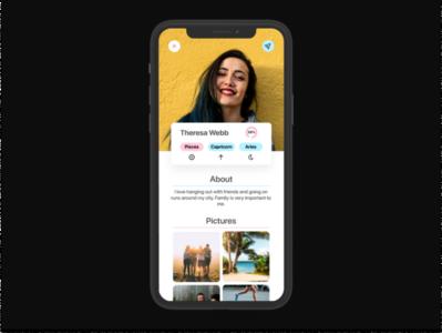 Zodiac - Profile mobile app design mobile design mobile app mobile ui mobile astrology social network social media socialmedia social app social profiles profile card profile design profile page profile
