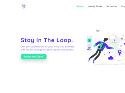 Clava - New Website Design landing page promotions location app chat app chat social media website web designer web design illustration branding ux uiux ui socialmedia social app tech