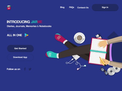 Jarme App landing-page notebook colorful journal android mobile jarme diary web