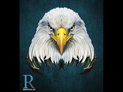 Eagle Painting digital illustration wall art bird portrait poster art wacom intuos photoshop t shirt print high detail print on demand illustration eagle painting